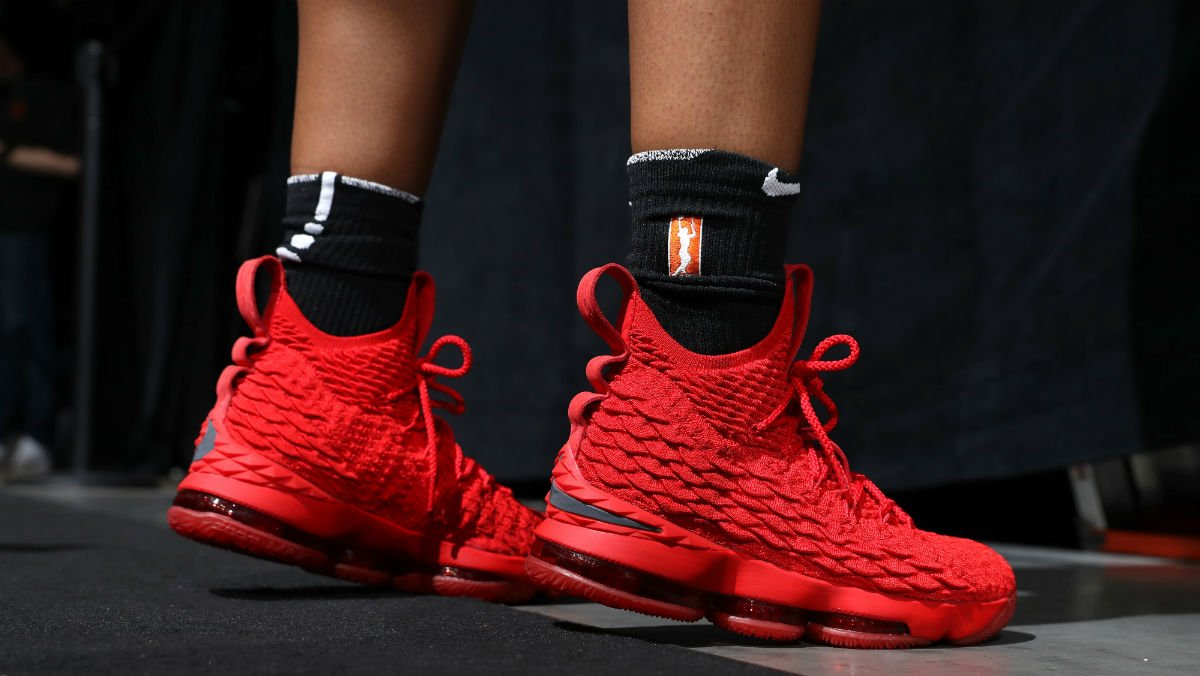 a6065b5cc0f solewatch kelzhoop broke out her ohio state nike lebron 15 pes for the wnba  all star
