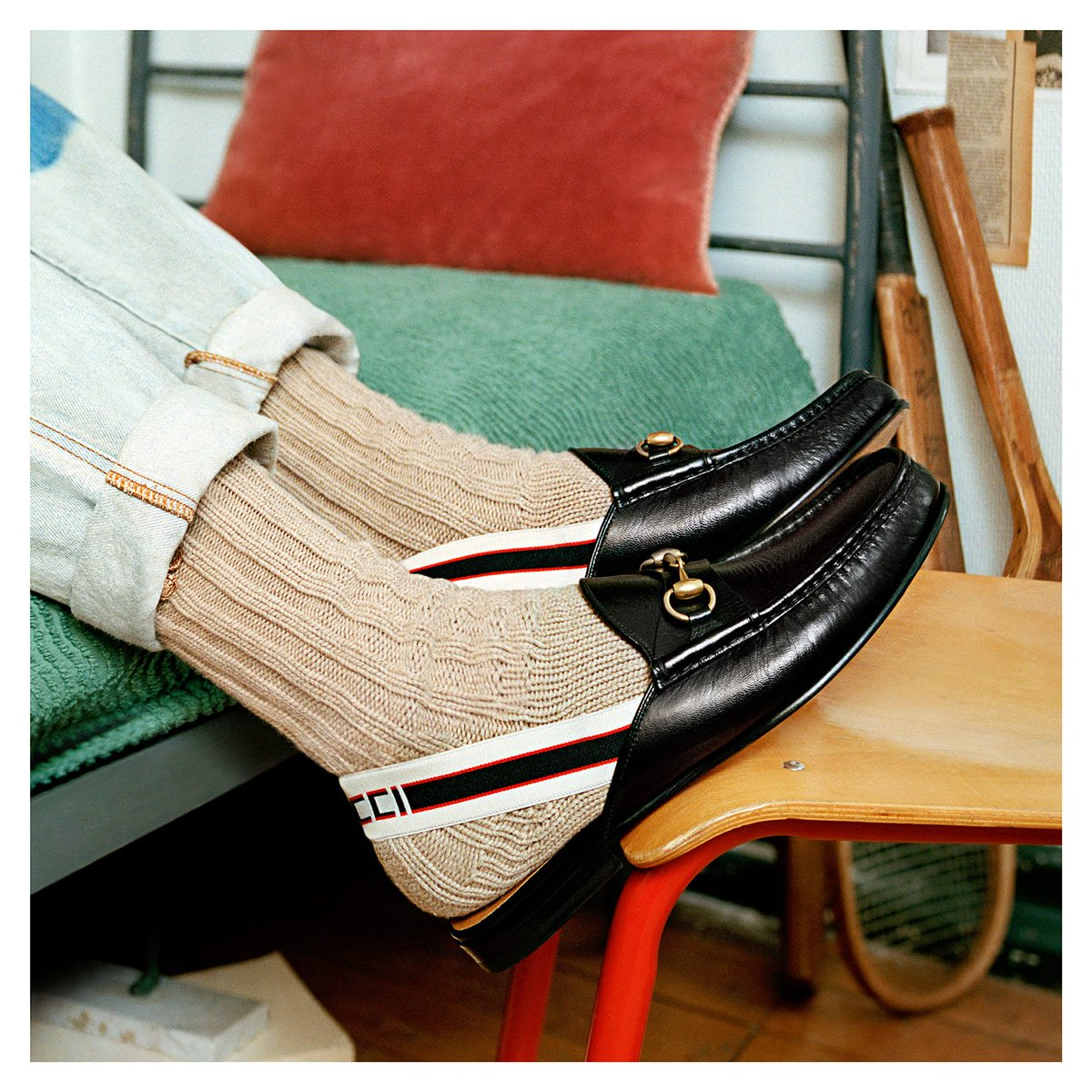 c5016425b60 ... slippers featuring the Horsebit detail and the sportswear-inspired Gucci  jacquard stripe on the back