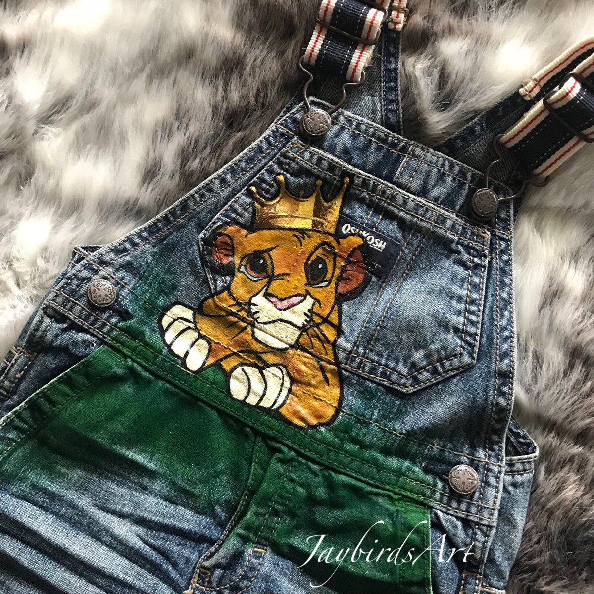 Hand painted Lion King over alls