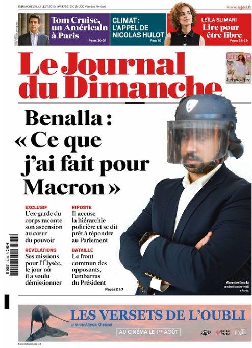 """""""Ça devient pathétique"""" : la une du """"Journal du Dimanche"""" sur l'affaire Benalla vivement critiquée DjQKXL7X4AUPm1D?format=jpg&name=small"""