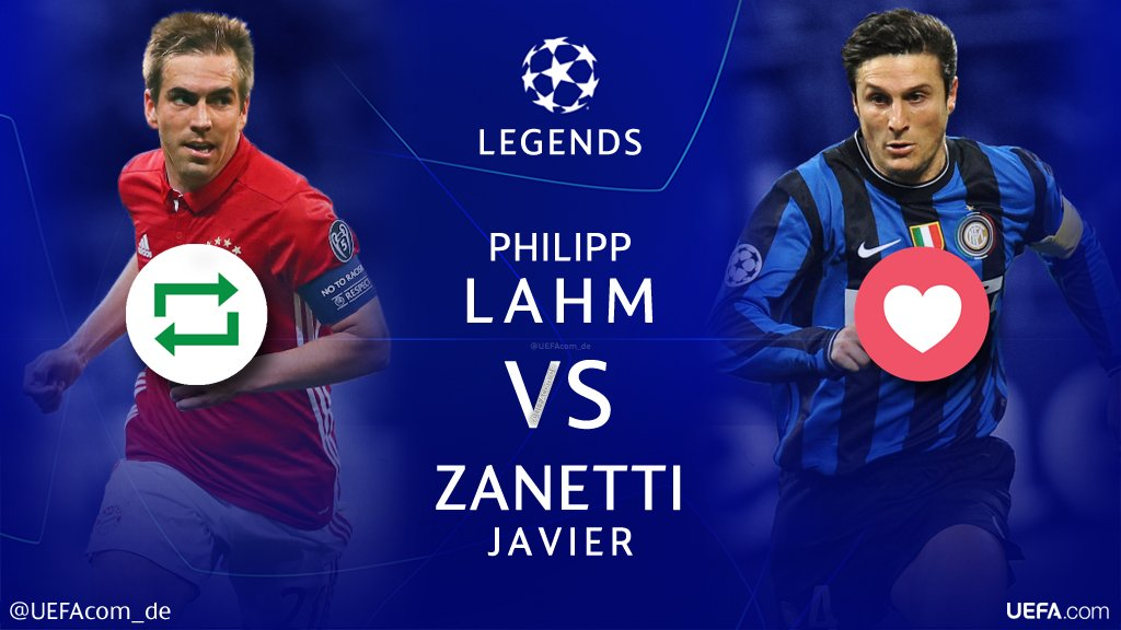 #UCL Legends 🙌🎉⚽️  🔁 = @philipplahm 🇩🇪 ❤ = @javierzanetti 🇦🇷  #Throwback @FCBayern @VfB @Inter
