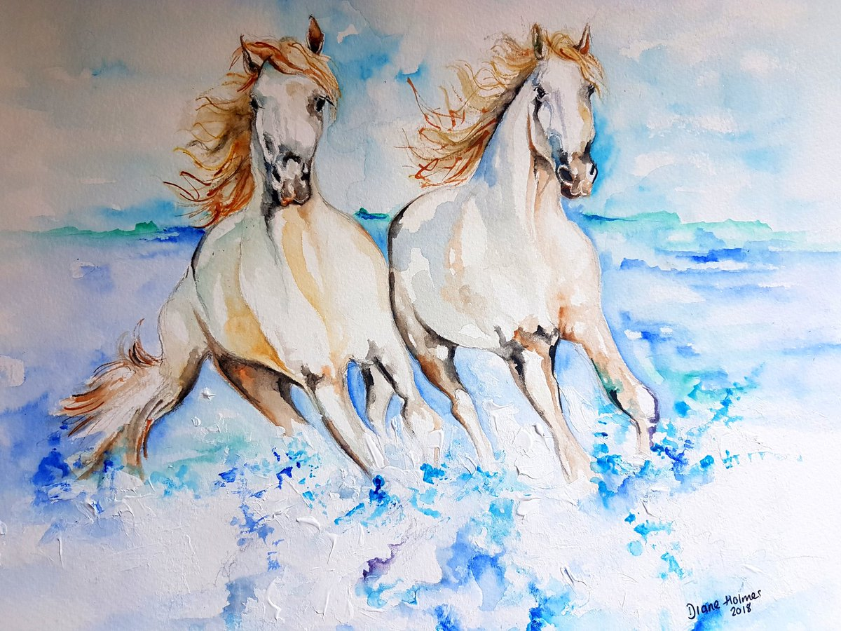 Diane Holmes Artist On Twitter A Couple Of Paintings I Have Done Whilst In The South Of France The Camargue Region Famous For Its Beautiful White Horses And Flamingos