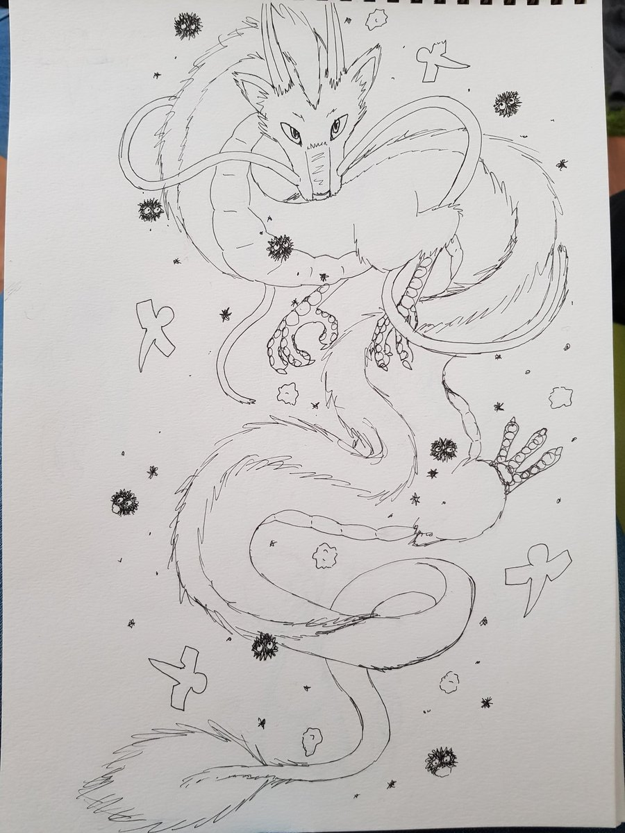 Hayley On Twitter Watching Spirited Away Again Inspired Me To Draw A Kind Of Tattoo Design I Love Haku Though It S Probably A Bit Busy But I Had Fun Anyway Yay For