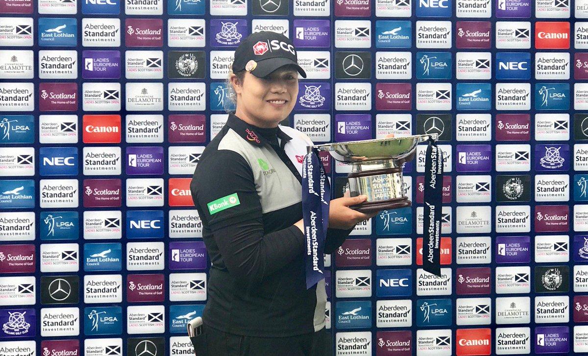 Thai won on! Ariya @Jutanugarn wins @LadiesScottish and become the new Rolex Rankings No. 1 player in the world!