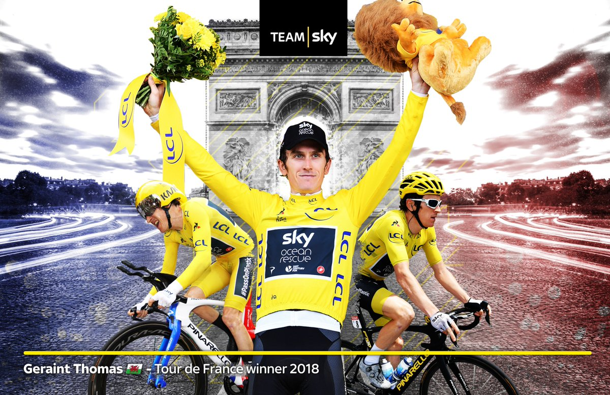 He's done it! Congratulations @GeraintThomas86 on winning the Tour de France! 💛💛💛💛💛💛  #GoTeamSky #TDF2018