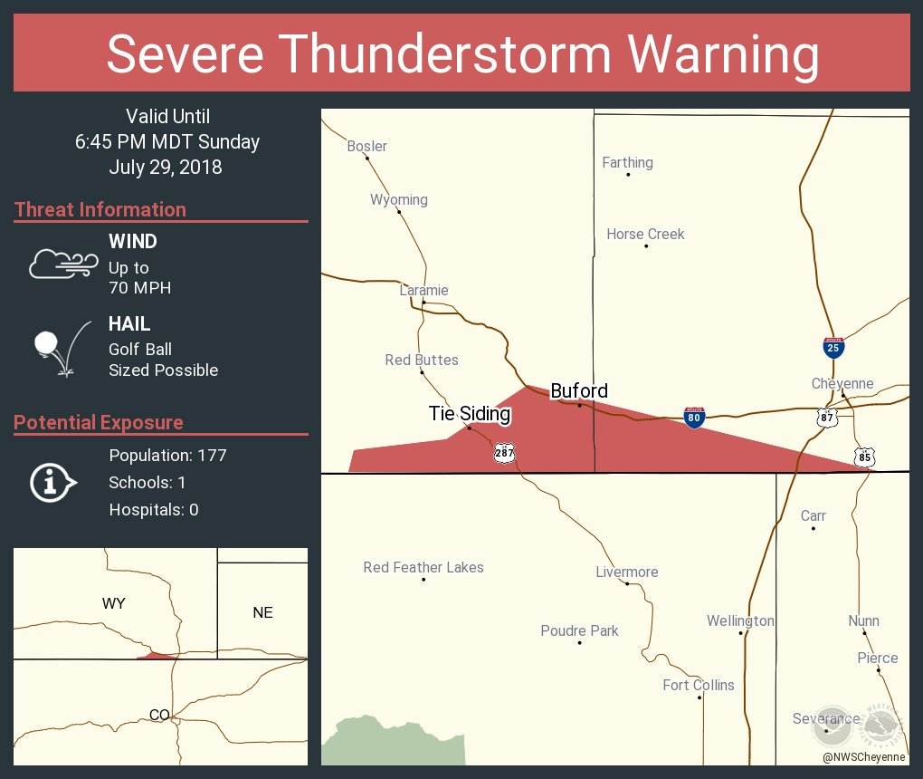 Nws Cheyenne On Twitter Severe Thunderstorm Warning Including