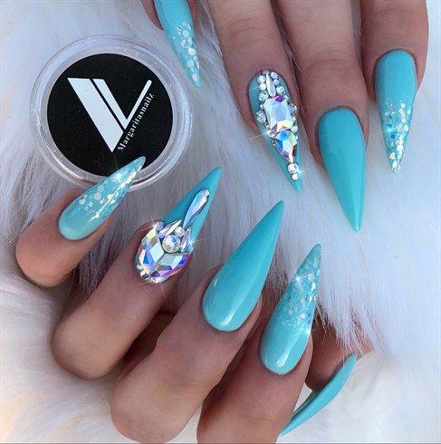 Nails Magazine On Twitter Nail Art Gallery Tiffany Blue Stiletto