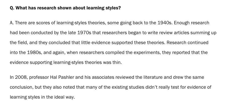 Does Tailoring Instruction To Learning >> Dr Ashley Tan On Twitter Tailoring Instruction To Learning Styles