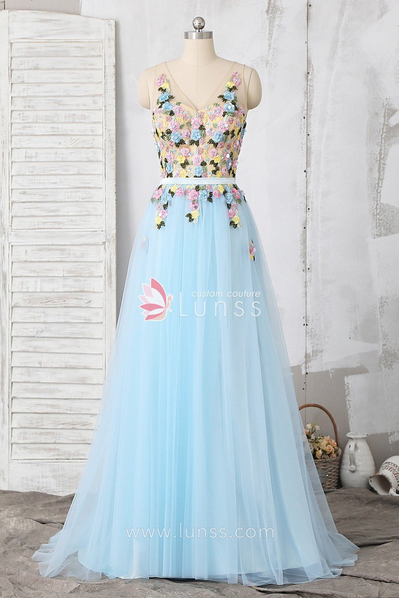 62f9a2de781 Baby blue beaded lace tulle a-line homecoming dress ·229 USD ·192 colors