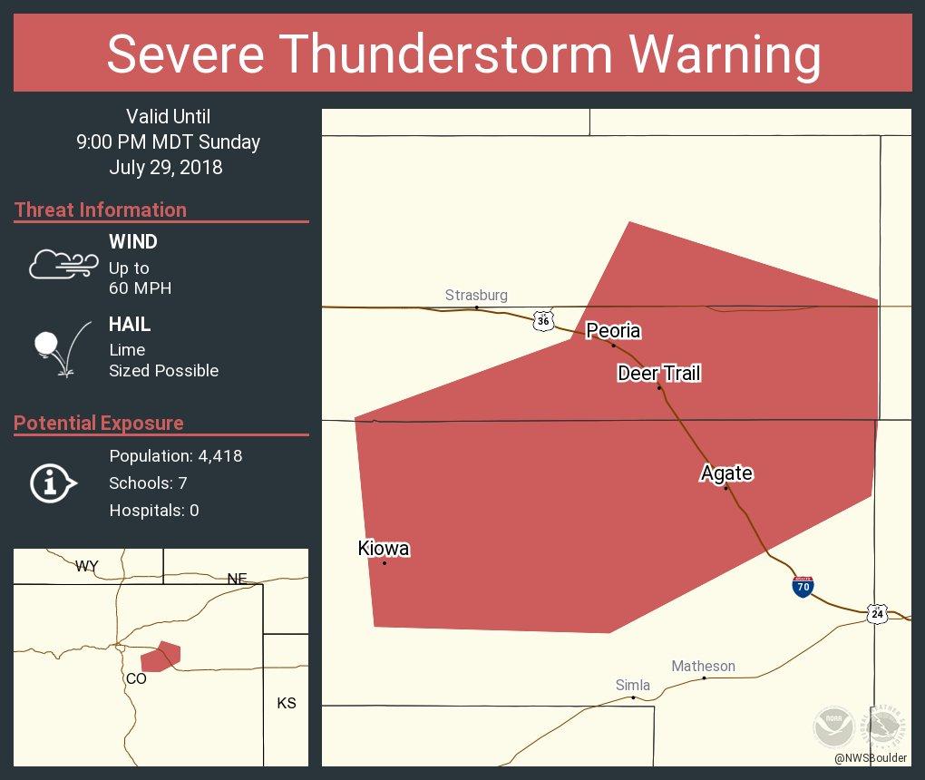 Nws Boulder On Twitter Severe Thunderstorm Warning Including Kiowa