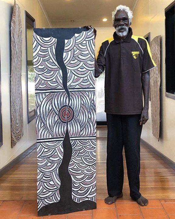 Rediscovering treasures with Barrmula Yunupingu. #indigenousart #australiancontemporaryart #yolngupower #contemporaryart #painting #barkpainting https://ift.tt/2M04cMZpic.twitter.com/txZn9PxcE9