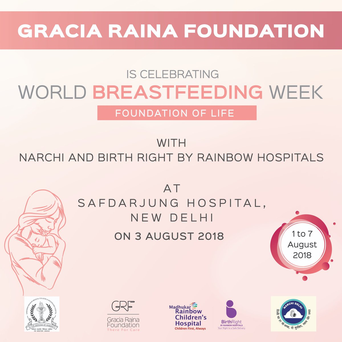 Gracia Raina Foundation has been consistently supporting new mothers and their children through the various initiatives, taking this further GRF is celebrating #breastfeedingweek with newly delivered mothers in IPD of @SJHDELHI one of the Indias Largest Hospital.