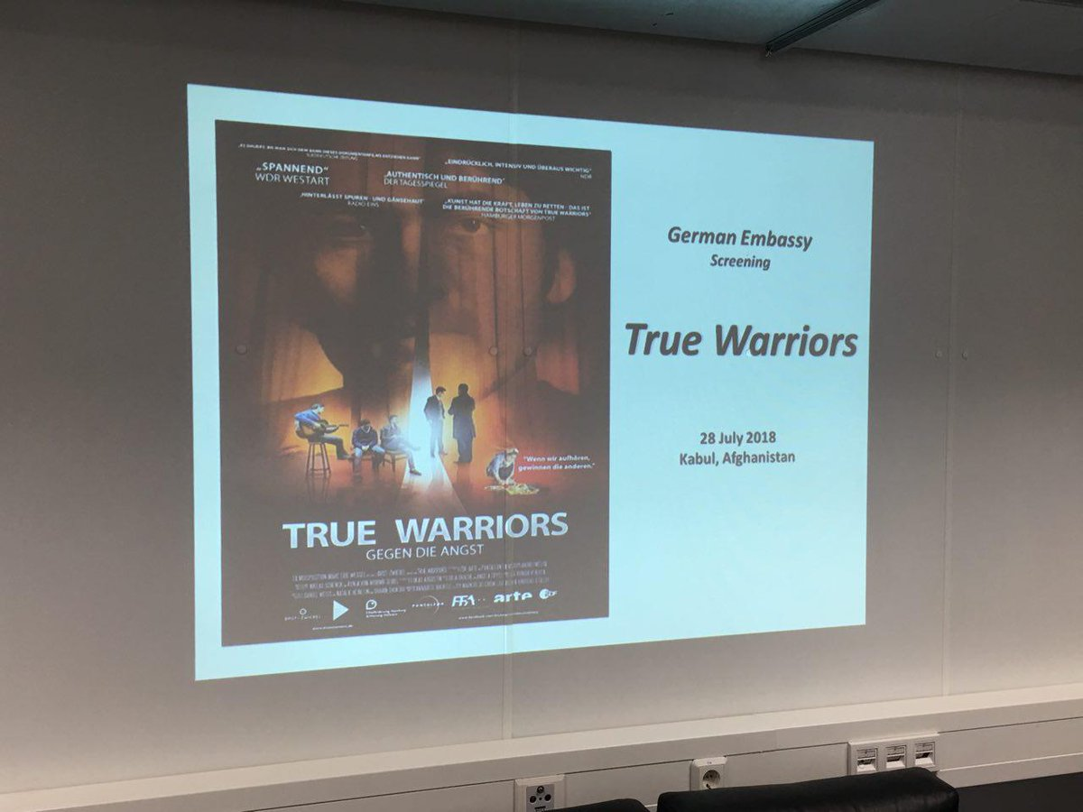 At a movie screening in the German Embassy directors @vonWurmbSeibel and @niklasschenck presented True Warriors. A powerful movie about opposing violence with art. @FESKabul @OfficialANIM @Institutfranai2
