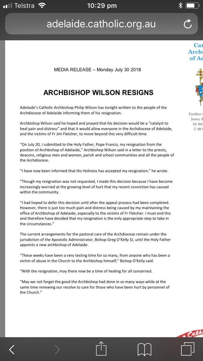 Giselle Wakatama On Twitter Archbishop Wilson Resignation Letter
