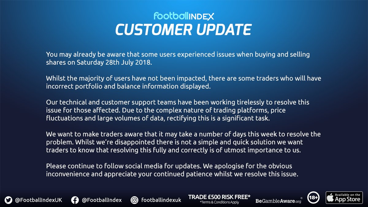 Further update. Thank you for your patience while we resolve this issue. #FootballINDEX #FICommunity