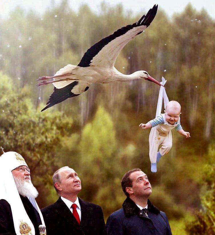 Днем рождения, аист с ребенком картинка прикольное