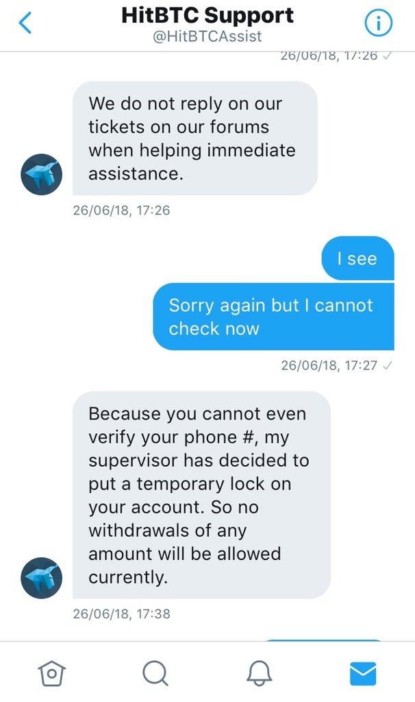"""Un faux service client Hit BTC""""@HitBTCAssist"""""""