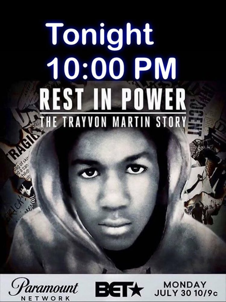 Tune in tonight! #TeamTrayvon17 #RestInPowerTrayvon #ParamountNetwork  #BET https://t.co/8XyeB2VUxv