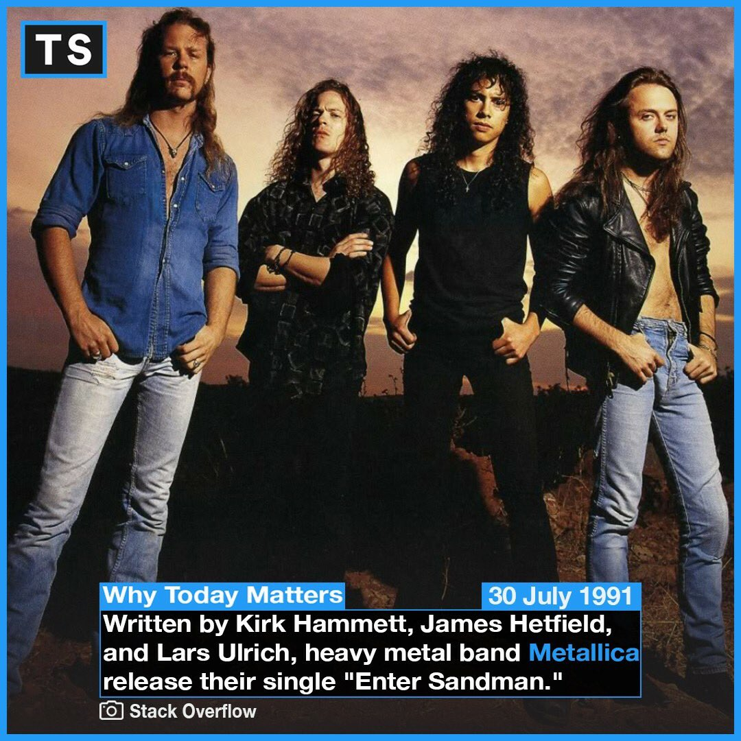 """""""Say your prayers little one Don't forget, my son To include everyone I tuck you in Warm within Keep you free from sin Until the sandman he comes"""" - Metallica, Enter Sandman.. #History #OTD #Metallica #Rock #Band #Metal #WhyTodayMatters #EnterSandman #Music #Culture"""