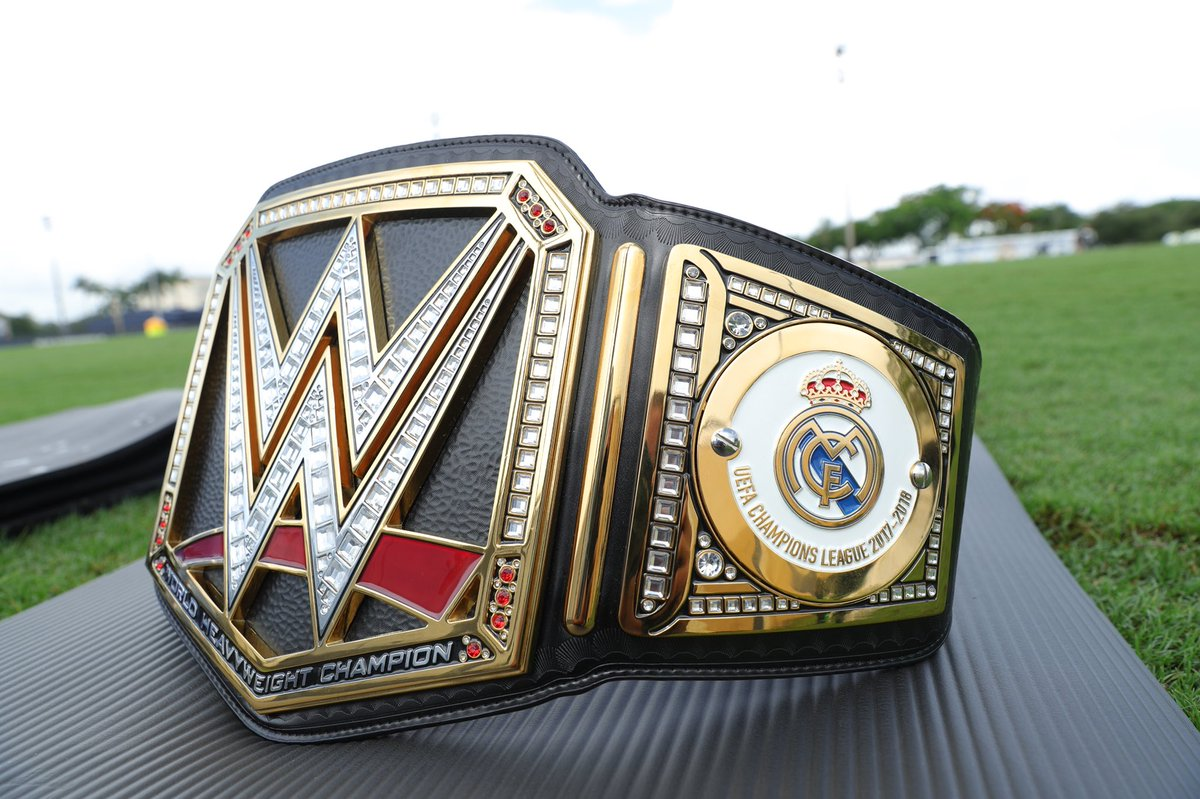 After 3 consecutive @ChampionsLeague wins, it's time for @realmadrid to celebrate like a @WWE Champion! #HalaMadrid