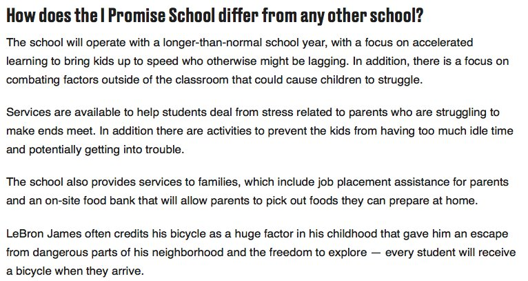 read this on LeBrons school. then read it again. This is incredible, man. and doesnt appear to be one of those celebrity boutique schools built on respectability politics. Chills, man.