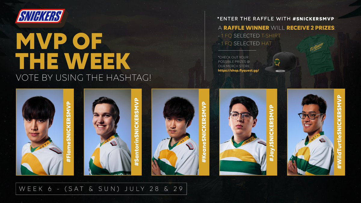 Still thinking about yesterdays crazy finish? Its ok, so are we. But now its time to refocus and think hard on who prevailed as the Week 6 @SNICKERS MVP. The polls are open! Dont forget to use #SNICKERSMVP in your reply to enter for a chance at some #FlyQ gear!