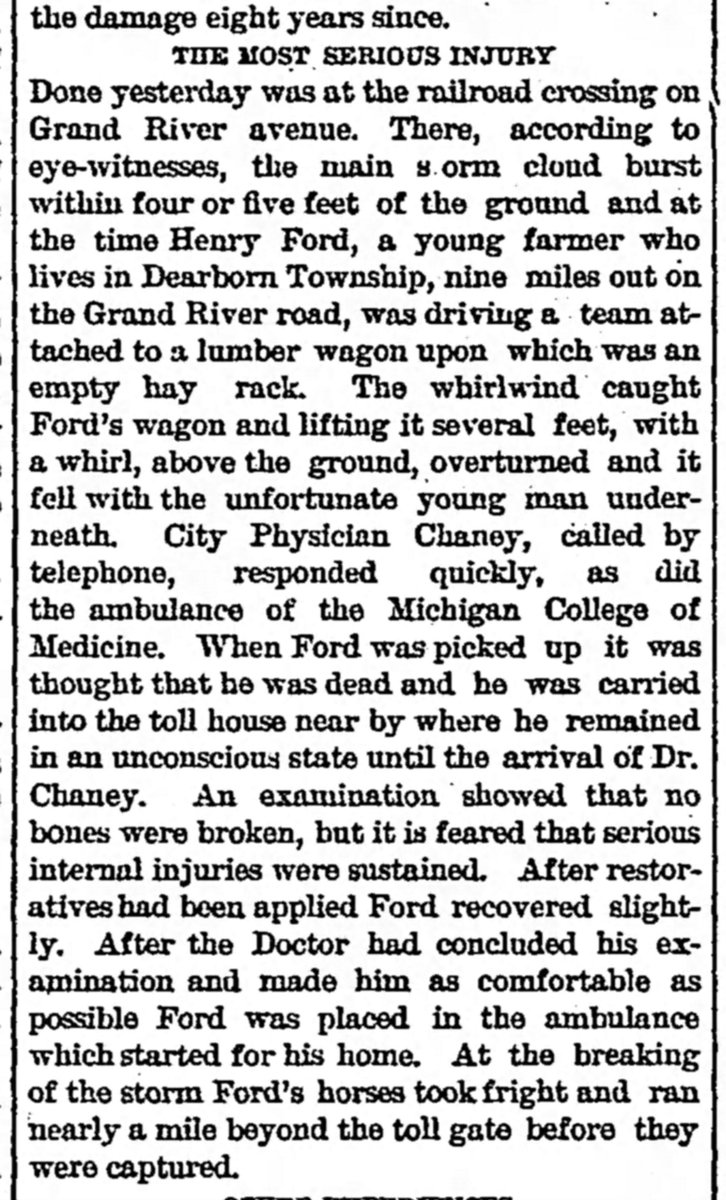 1883 : Henry Ford Dodges Death