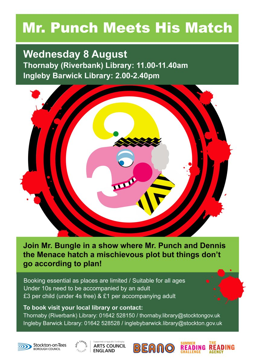 'Mr Punch Meets His Match!' at #ThornabyLibrary (Gilmour St), 11am &  #InglebyBarwickLibrary, 2pm. Tickets £3 per child, £1 per adult. Under 3s  free.