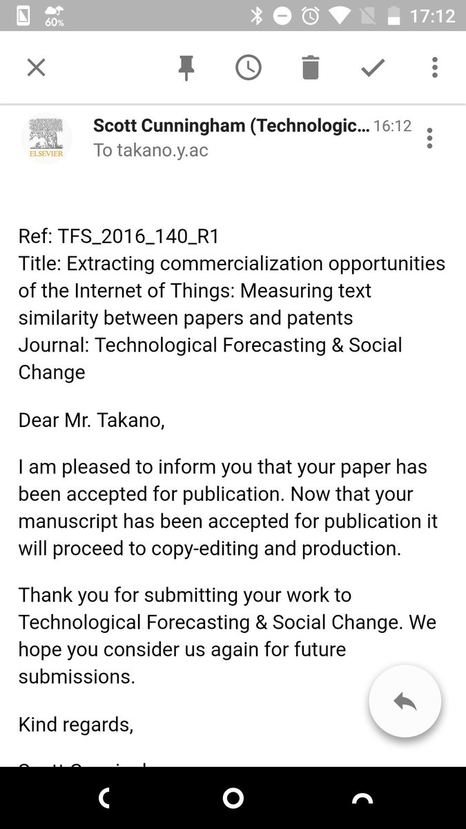 My paper was accepted. It is about extracting commercialization opportunities of the Internet of Things. Feel relieved :) #IoT #bibliometrics #patent #paper #MachineLearning #TFSC<br>http://pic.twitter.com/xZ69ptwOmL