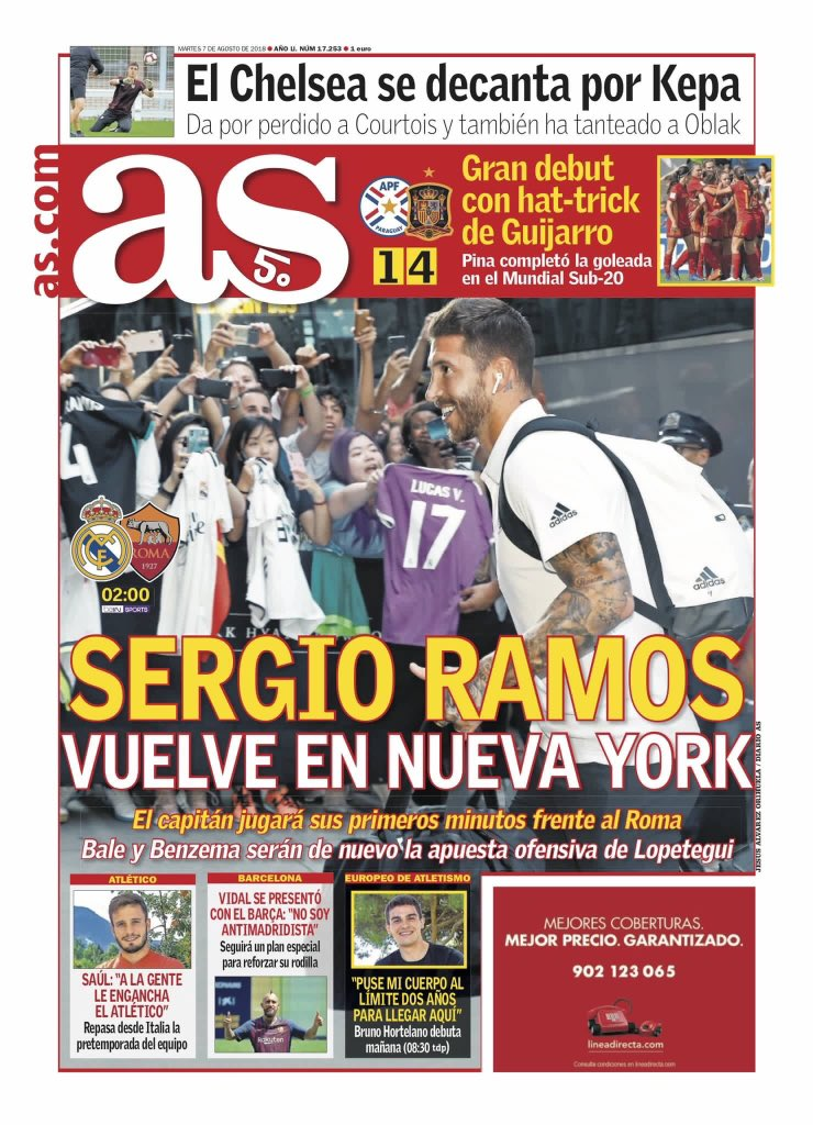 #AS    Sergio #Ramos fait son retour à New York.> Notre capitaine jouera ses premières minutes face à la Roma.> #Bale et #Benzema formeront à nouveau le duo d'attaque de #Lopetegui.  - FestivalFocus