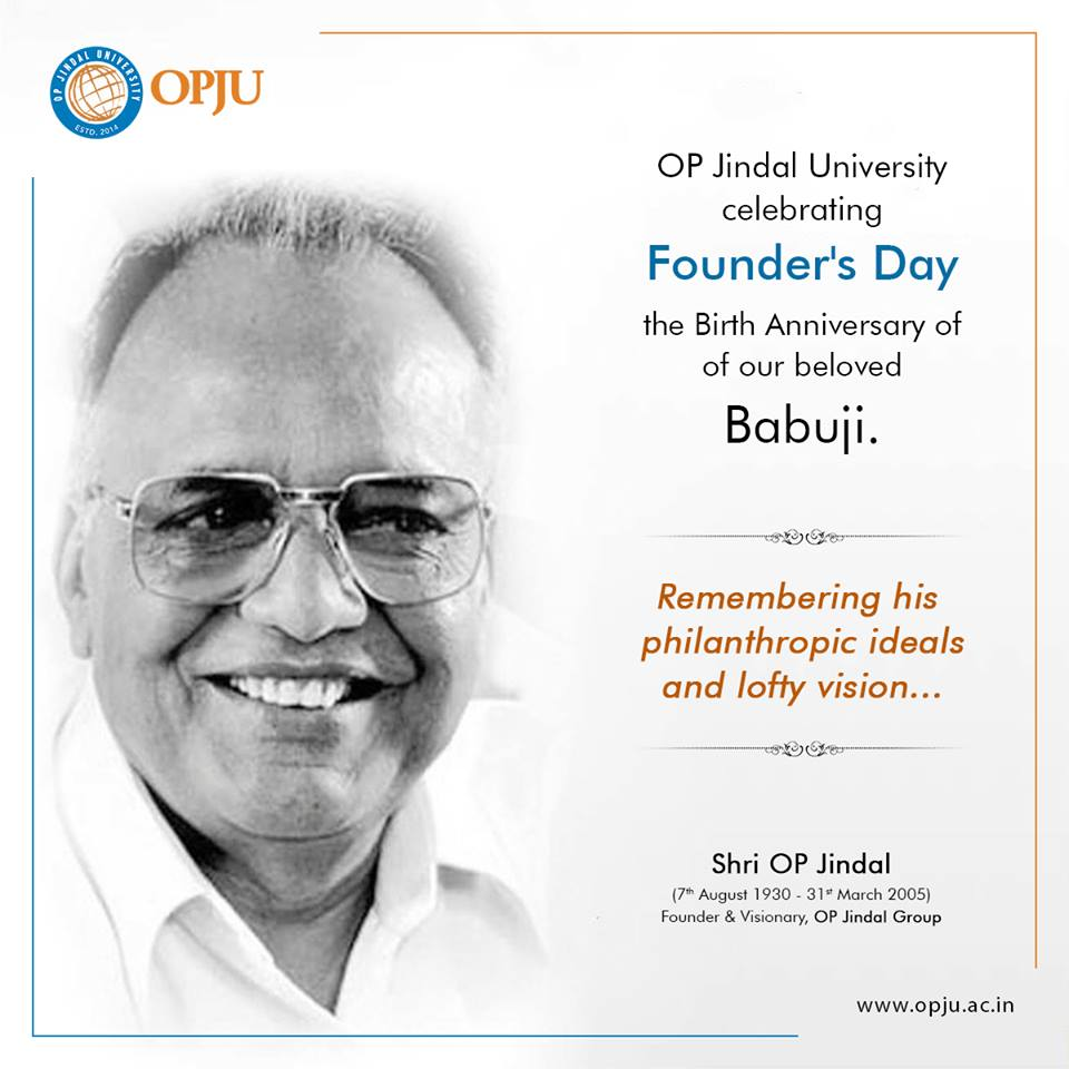 The morning of 7th August for #OPJU was a bright, unforgettable event full of bright colours and emotions.  OP Jindal University marks the 88th anniversary of the #Founder and Visionary, Shri OP Jindal&#39;s birthday with a celebration.   #FoundersDay #Raigarh<br>http://pic.twitter.com/i9HIjf28G6