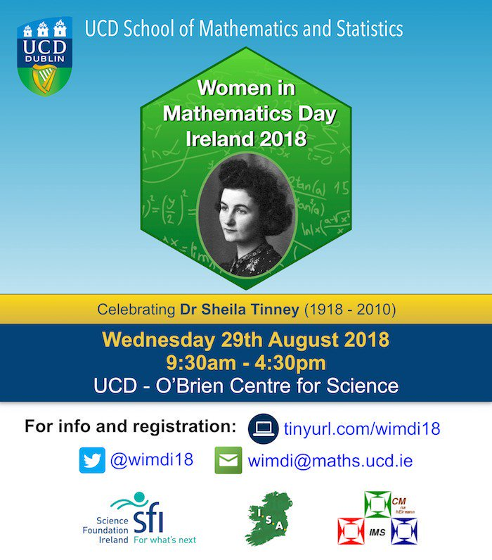 test Twitter Media - 29/8/18 #WomenInMathematics Day Ireland 2018 @UCDMathStat @WiMDI18  conference will feature a celebration of Dr Sheila Tinney's work. Dr Tinney was the first female fellow of #DIASDublin & one of the first Research Associates at #DIASDublin More details: https://t.co/Izd5GbWM58 https://t.co/erg30PcF4p