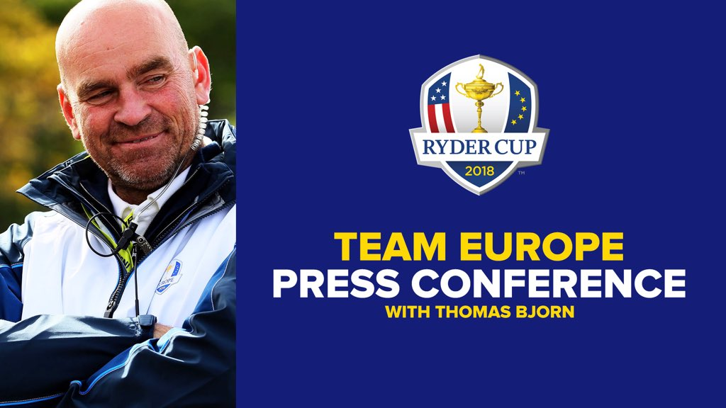 📍 PGA Championship 🕰 3pm (BST) Tune in live on Twitter to see @ThomasBjornGolf discuss how #TeamEurope is shaping up.