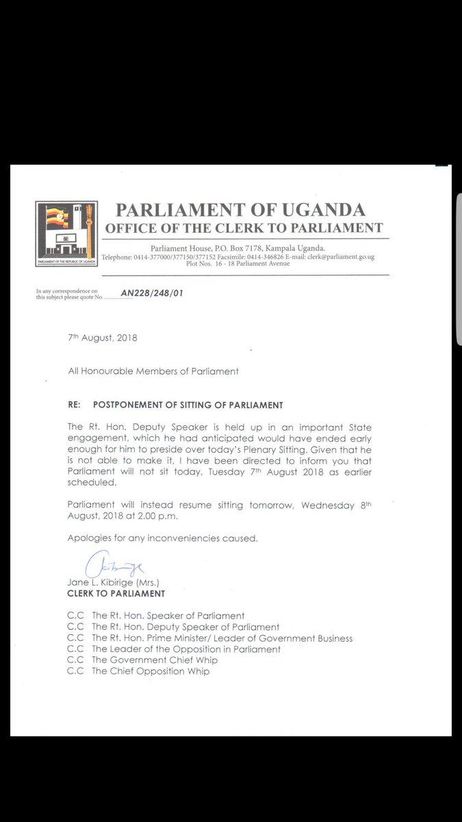 Parliament Of Uganda On Twitter Plenaryug Has Been Postponed To