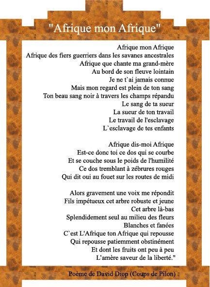 2vk On Twitter Afrique Mon Afrique Poème De David Diop