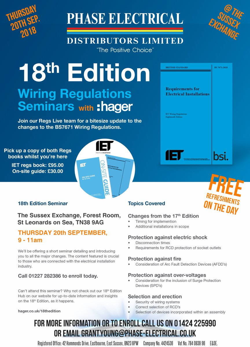 Phase Electrical On Twitter We Still Have Places Left At Our 18th 17th Edition Wiring Regulations Book Seminar In Partnership With Hageruk To Your Space Contact Local