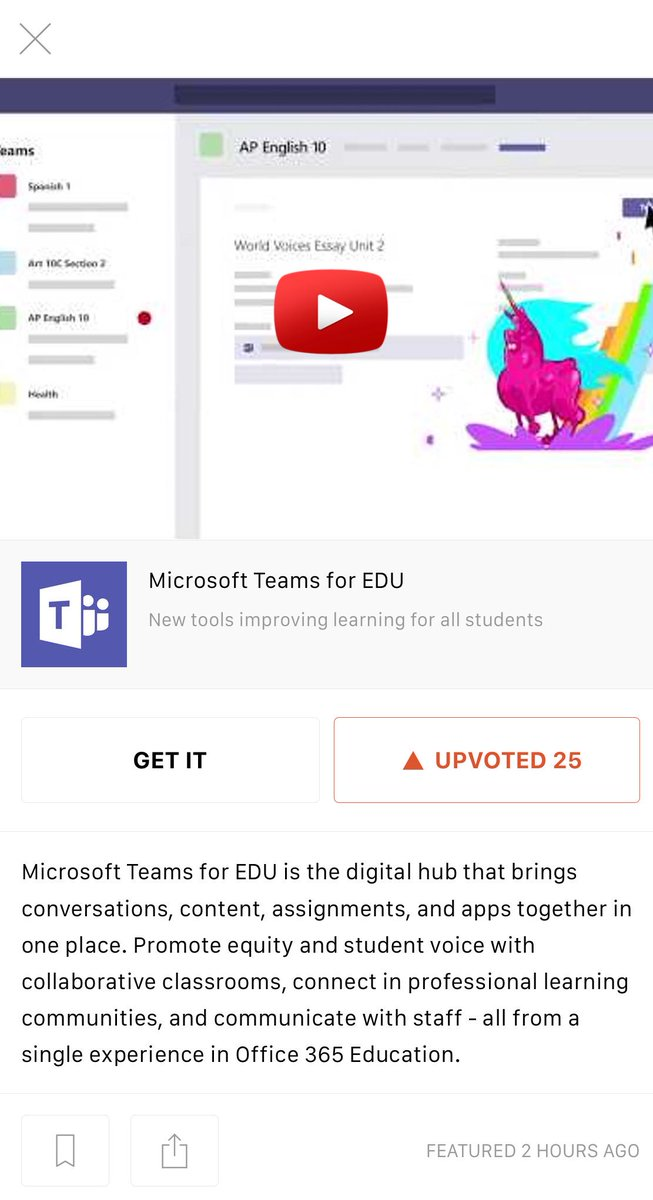 So proud  of my team's work on @MicrosoftTeams being recognized on @ProductHunt today!   Help us climb  to the top  with an upvote!     https://www. producthunt.com/posts/microsof t-teams-for-edu &nbsp; …   #MIEExpert #MicrosoftEDU #Teamania <br>http://pic.twitter.com/uMrsbEDxmd