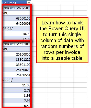 To Convert A Single Column Of Invoice Data With Varying Number Rows Per Into Usable Table Https Www You Watch V Krjh4els9em