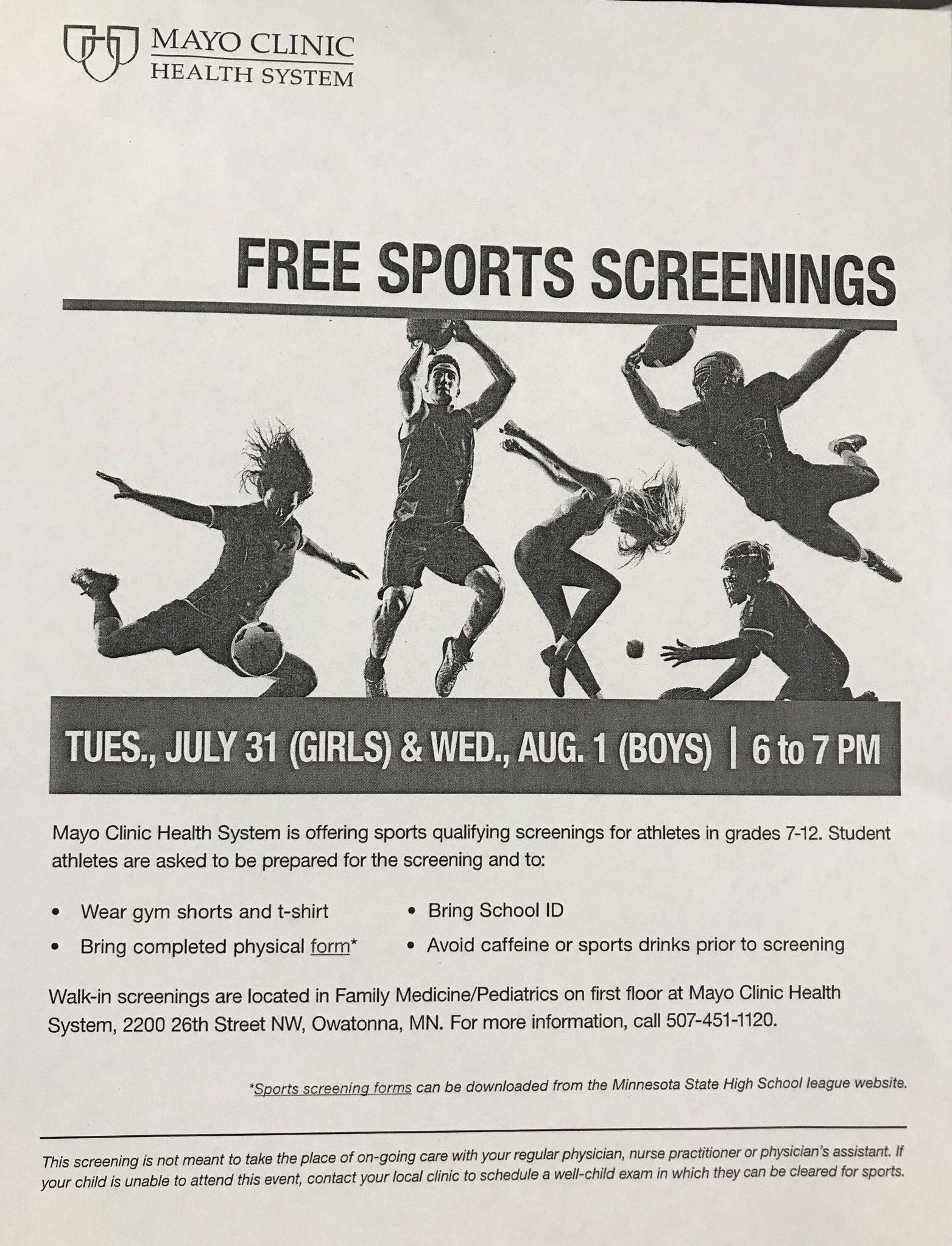 "sports physical form mn  OwatonnaHuskiesGolf on Twitter: ""Free sports screenings ..."