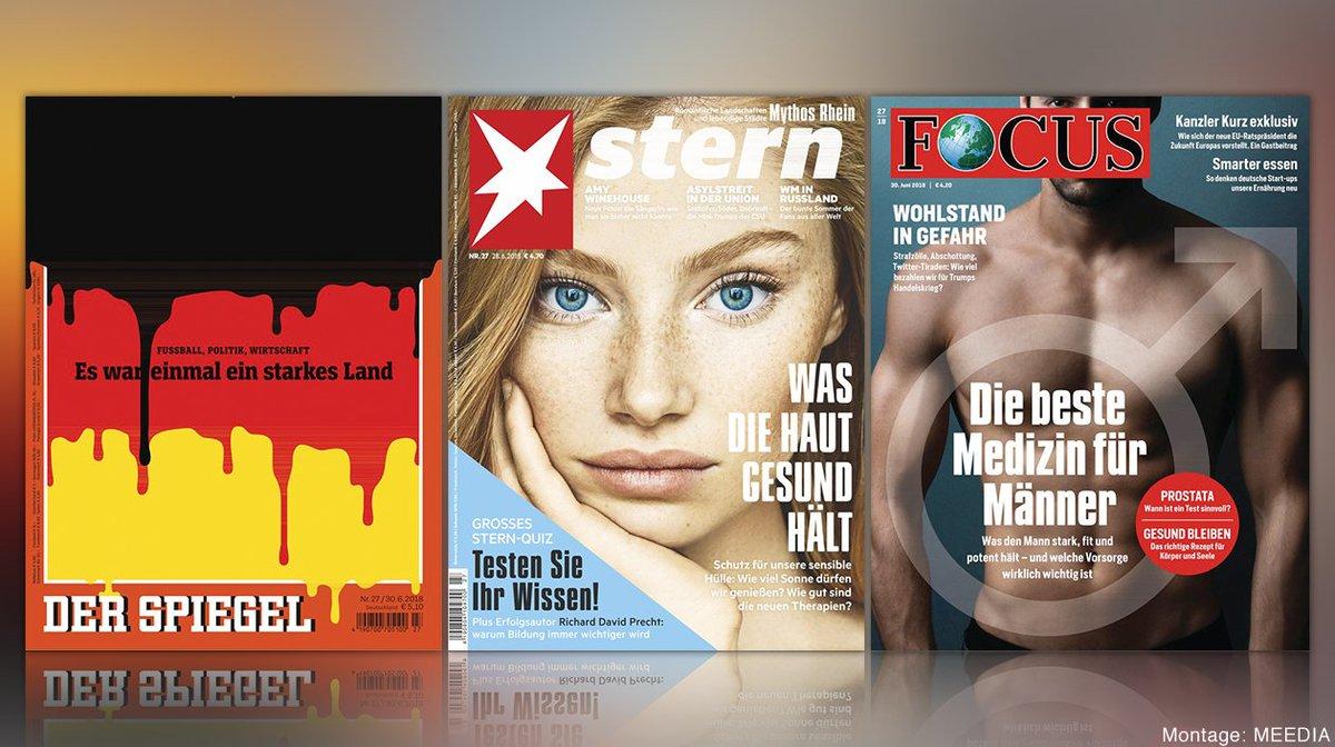 """Einzelverkauf: Spiegel punktet am Kiosk mit schwarz-rot-goldenem Abgesang, Focus mit """"Medizin für Männer"""" https://t.co/0RMv8fGwbW https://t.co/u2KCGwb6p3"""