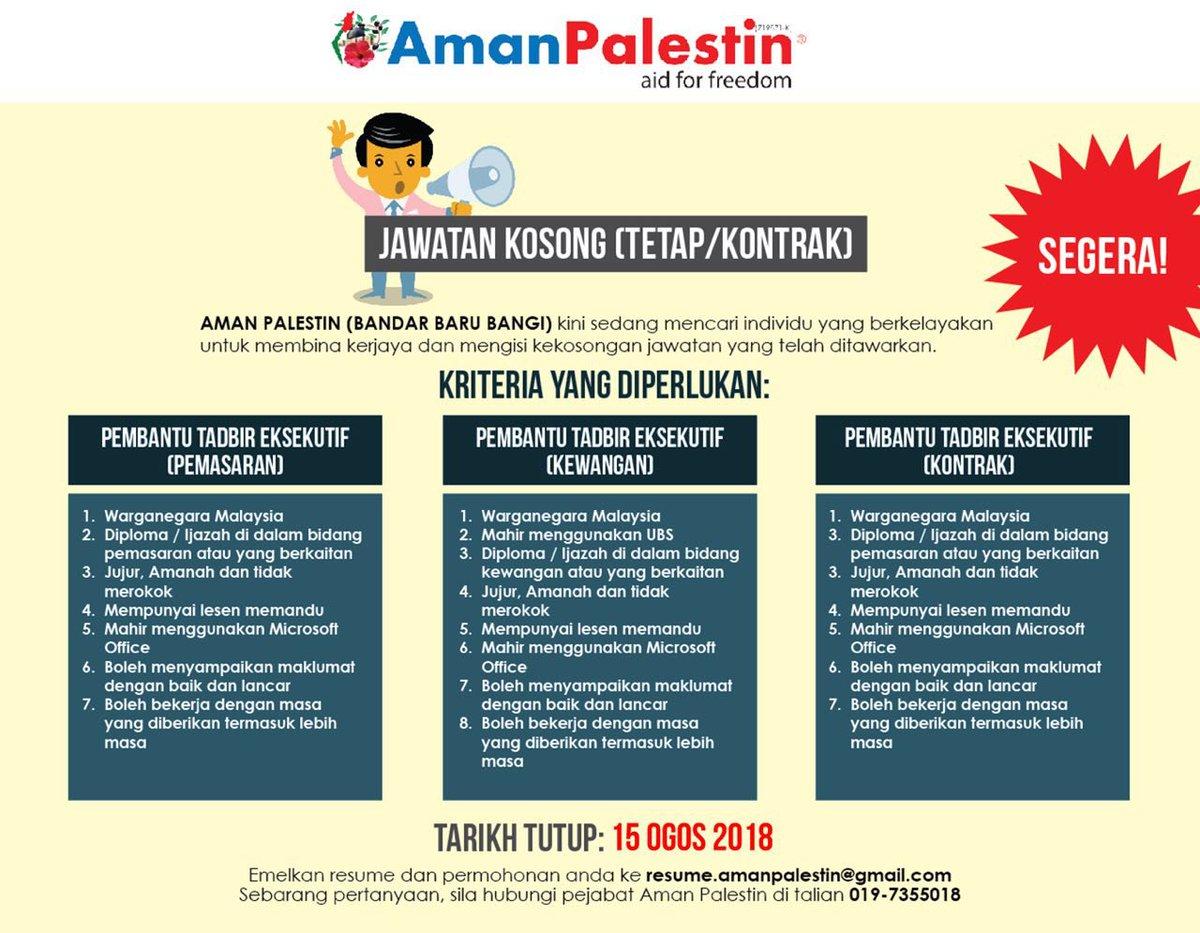 Tarikh akhir bagi memohon jawatan kosong adalah pada 15 Ogos 2018. Emailkan resume/CV anda ke email resume.amanpalestin@gmail.com Sebarang pertanyaan lanjut, hubungi pejabat Aman Palestin di nombor 017-7355018 @MauKerjaMY @KerjaKosongKini