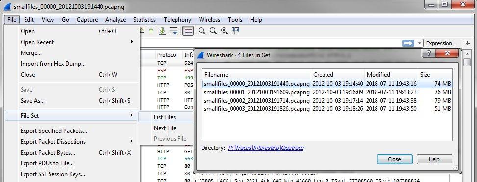Split pcap file wireshark