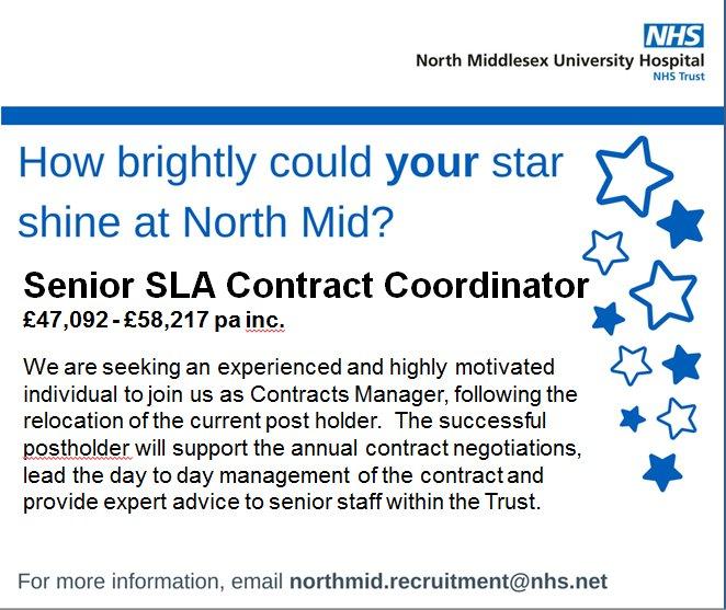 North Mid Hospital On Twitter Senior SLA Contract Coordinator