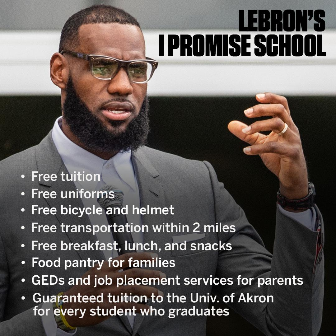 Here's a list of what @KingJames' I Promise School will be providing its students and their families 👏