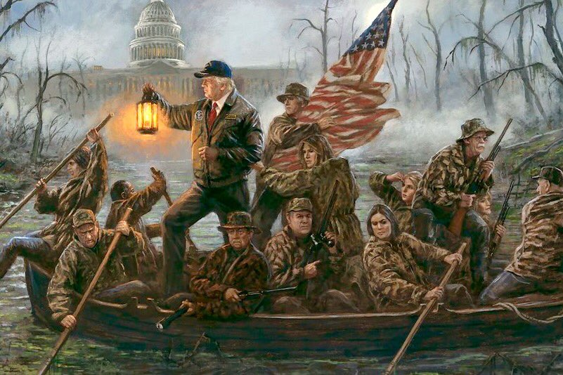 "Jerry Saltz on Twitter: ""This is conservative artist Jon McNaughton's new painting: ""Crossing the Swamp"" ""Never give up. Never lower your light. Never  stop till the swamp is dry."" Comments??… https://t.co/cMsJTVF0W0"""
