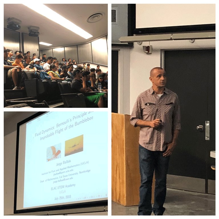 Former IPAM Associate Director Jorge Balbás gave a lecture last Wednesday to a group of STEM students from East Los Angeles College on Fluid Dynamics: Bernoulli's Principle and the Improbable Flight of the Bumblebee. Wed like to thank him and everyone who attended the talk!