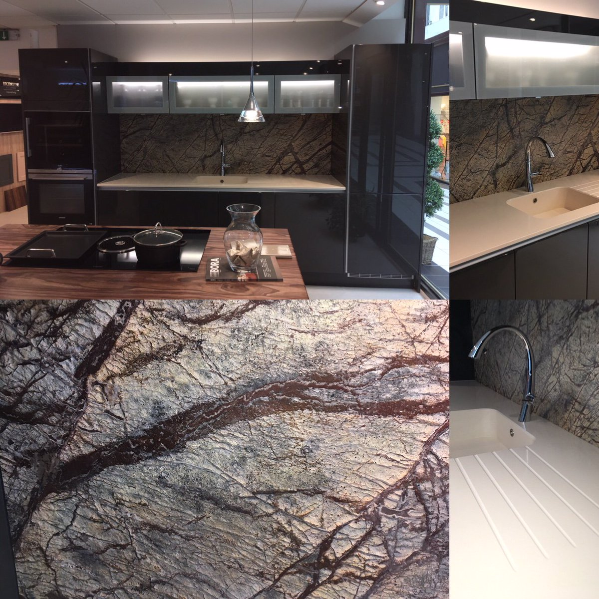 Brooklyn Kitchens Pa Twitter Check Out The Latest Update To Our Showroom Haiku Silestone Worktop With Integrity Sink And Forest Brown Granite Splash Back Quite A Statement Just A Few Lights To Add To