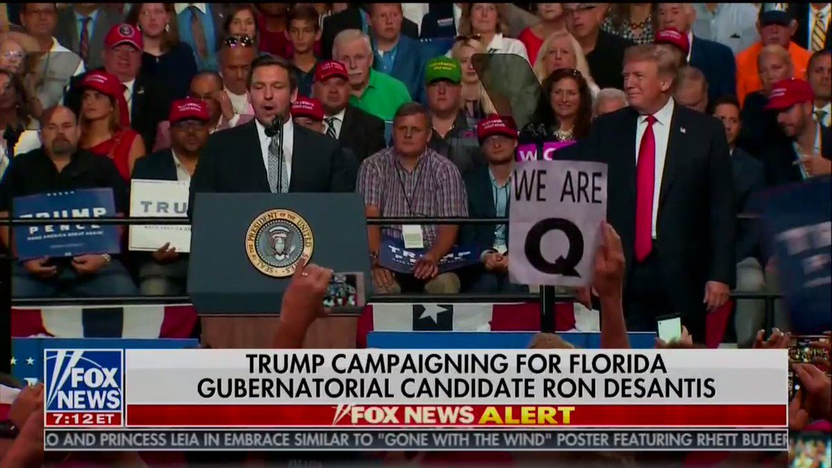 Oh look, QAnon sign at the Trump rally