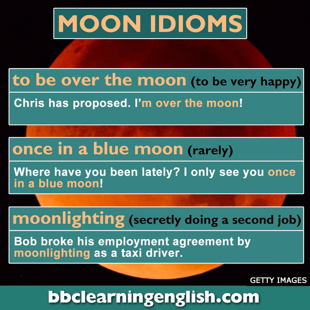 The moon has inspired many idioms. Here are a few.... #vocab #space  #moon #learnenglish