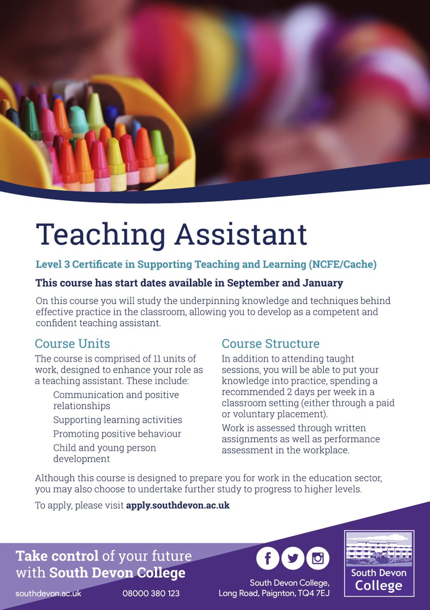 teaching assistant level 3 assignment 6 Our teaching assistant level 3 course takes on average 100 hours to finish and is assessed based on a series of written assignments and questions (requiring descriptive answers) that will test your course knowledge on a unit by unit basis within these assignments, you will need to be able to demonstrate.
